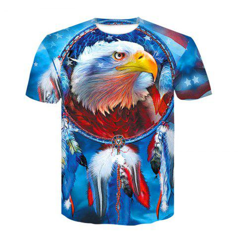 3D American EaglePrint  Men's Casual Short Sleeve Graphic T-shirt - multicolor A M
