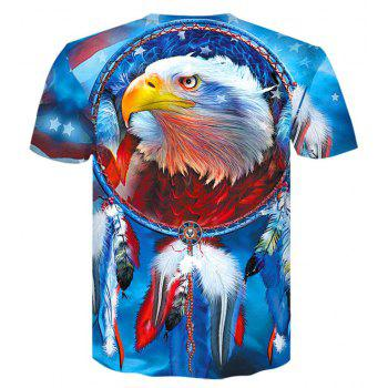 3D American EaglePrint  Men's Casual Short Sleeve Graphic T-shirt - BUTTERFLY BLUE L