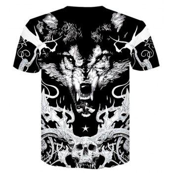 Fashion City 3D Print Men's Casual Short Sleeve Graphic T-shirt - BLACK XL