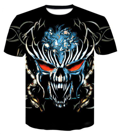 3D Skeleton King Print Men's Casual Short Sleeve Graphic T-shirt - BLACK L