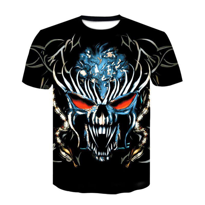 3D Skeleton King Print Men's Casual Short Sleeve Graphic T-shirt - BLACK XL
