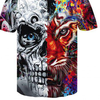 3D Mechanical Tiger Print Men's Casual Short Sleeve Graphic T-shirt - multicolor 3XL