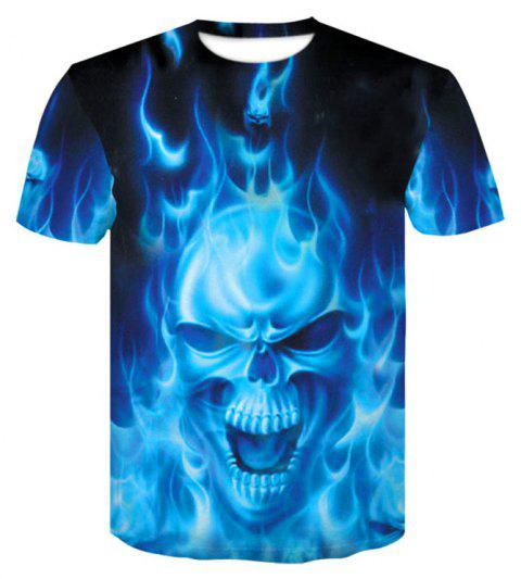 3D Blue Flame Skeleton Print Men's Casual Short Sleeve Graphic T-shirt - BLUEBERRY BLUE 4XL