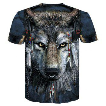 3D Tribal Wolf Print Men's Casual Short Sleeve Graphic T-shirt - multicolor XL