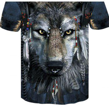 3D Tribal Wolf Print Men's Casual Short Sleeve Graphic T-shirt - multicolor 4XL