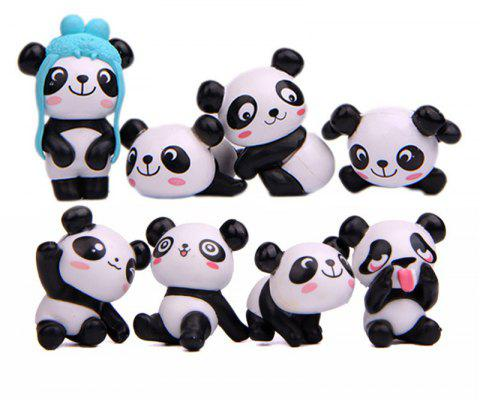 Panda Version Model PVC Figures Toys DIY Micro Landscape Decoration 8PCS - BLACK