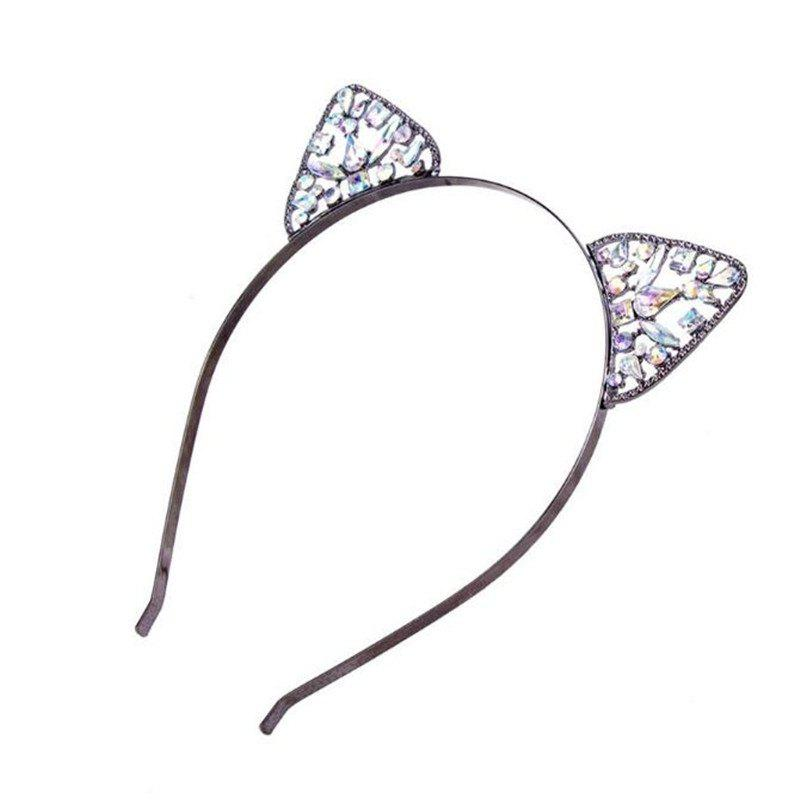 High Quality Lovely Alloy Diamond Cat Ears Headband - BLACK