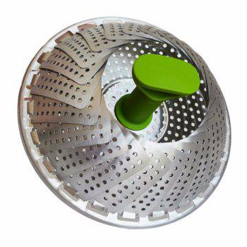 New Stainless Steel Steaming Basket Folding Mesh Food Vegetable Egg Dish - SILVER