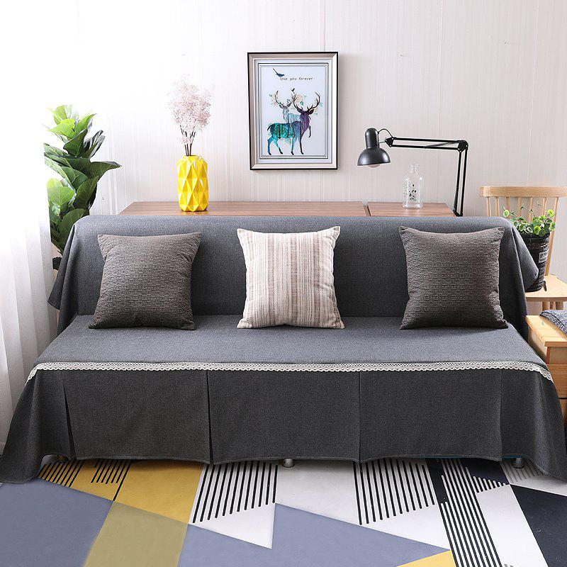 Pure Color Dust-Proof Cover for Armless Sofa - GRAY ARMLESS SOFA COVER SIZE215*230CM