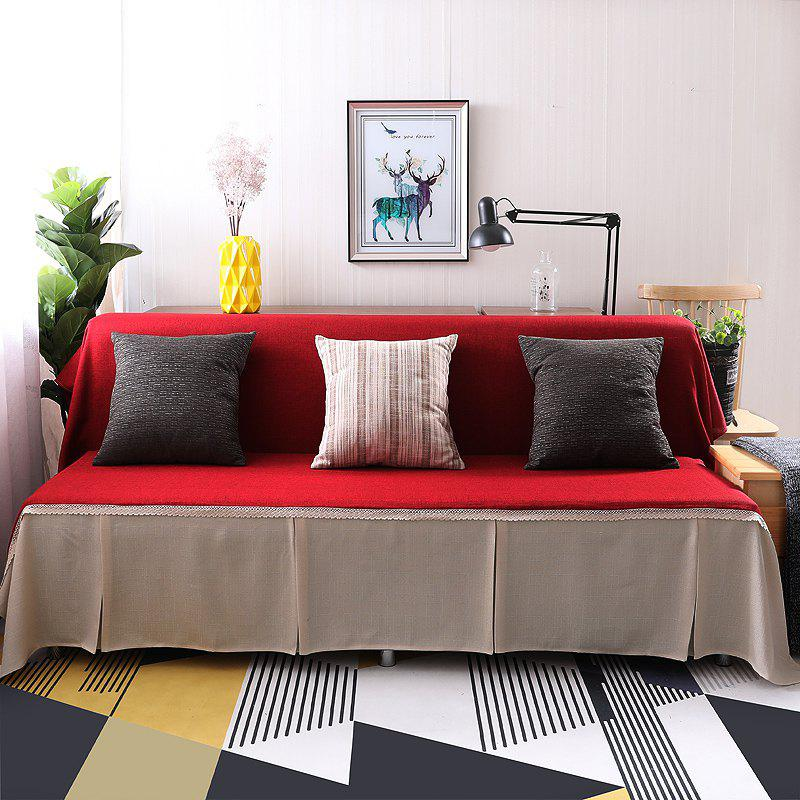 Fashionable Solid Color and Splicing Sofa Dustproof Cover - multicolor B ARMLESS SOFA COVER