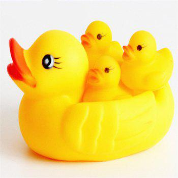 Lovely Duck Model Bath Toy for Kids 4PCS - YELLOW