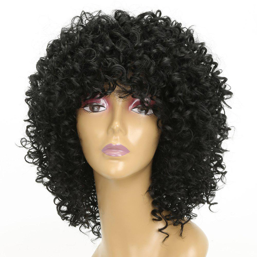 Women Golden Blonde Afro Curly Style Short Hair Synthetic Wig for Party - NATURAL BLACK 14INCH