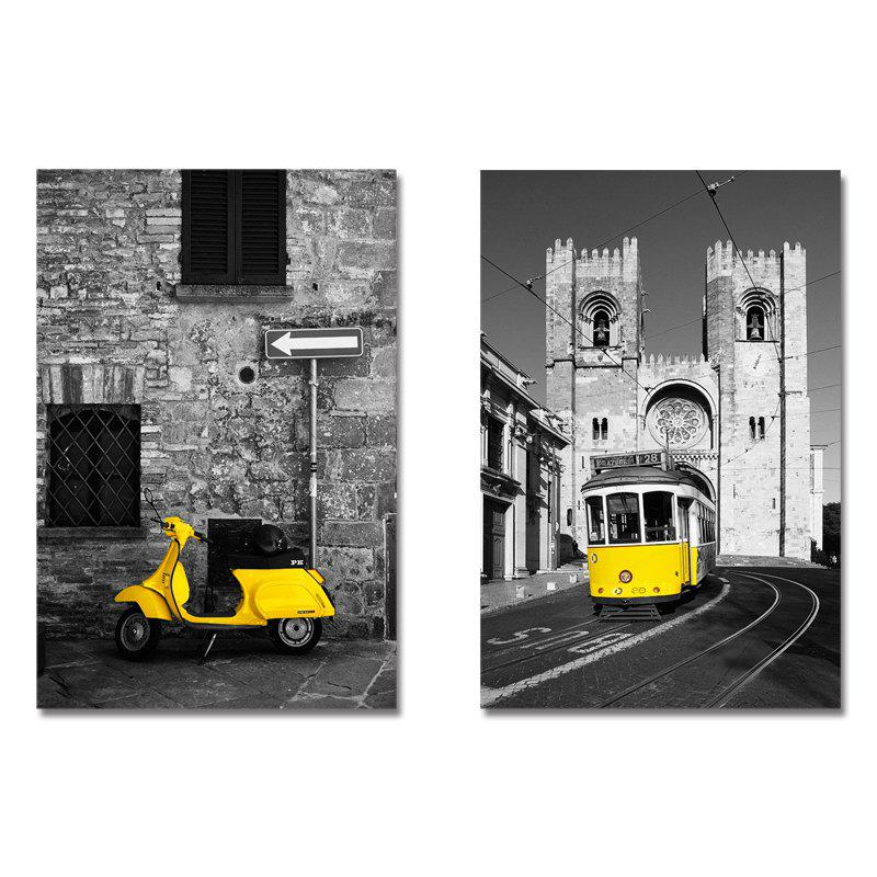 DYC11209 - bc-9-26-27 2Pcs A Streetscape of the European Wind Print Art - multicolor