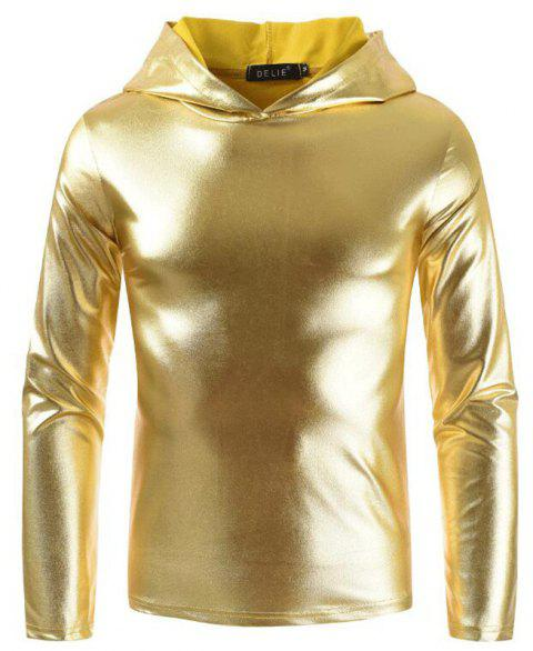 Men's Fashion Nightclub Hooded T-shirt - GOLDEN BROWN XL