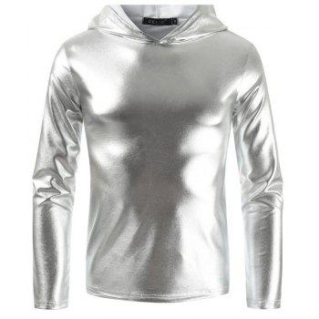 Men's Fashion Nightclub Hooded T-shirt - SILVER M