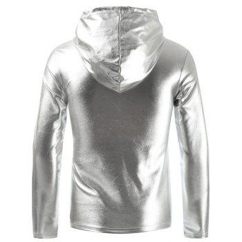 Men's Fashion Nightclub Hooded T-shirt - SILVER XL