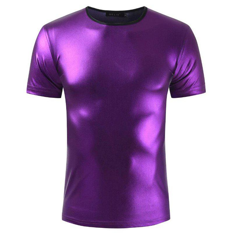 Men's Casual Elasticity Nightclub Short Sleeves T-shirt - PURPLE M