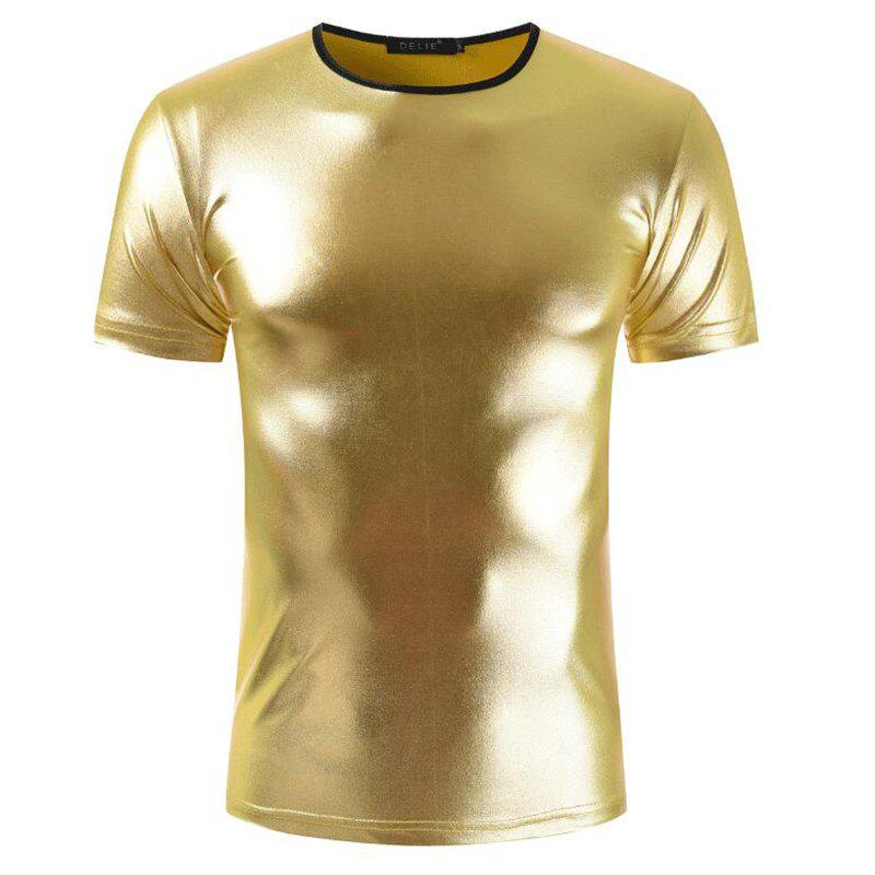 Men's Casual Elasticity Nightclub Short Sleeves T-shirt - GOLD M