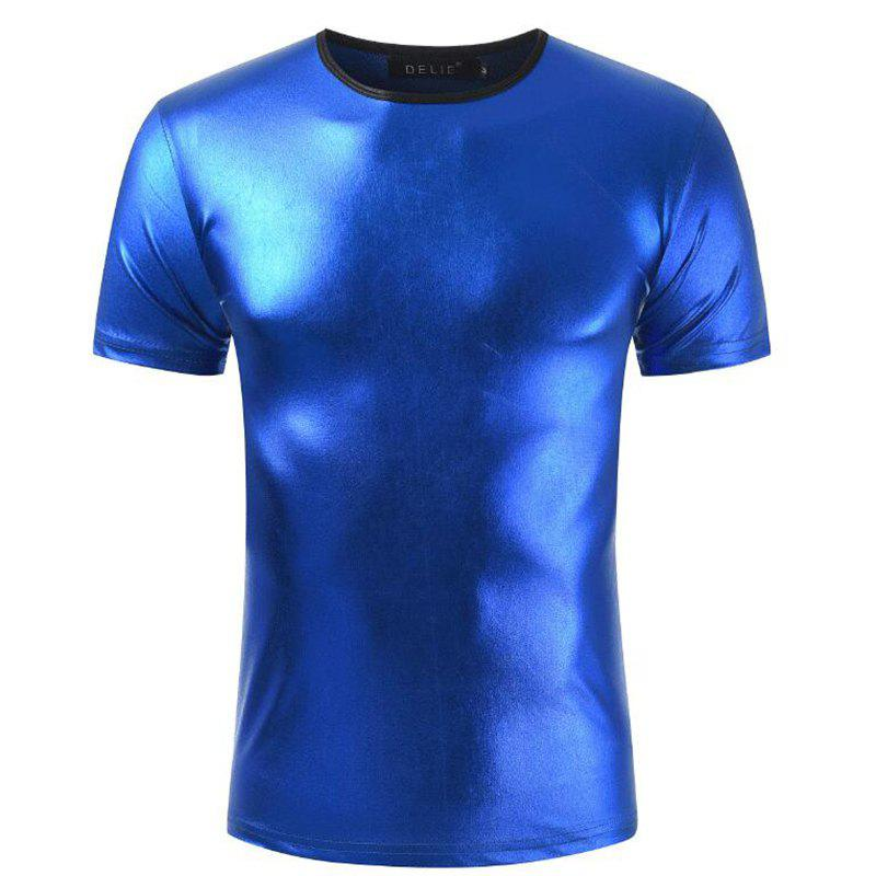 Men's Casual Elasticity Nightclub Short Sleeves T-shirt - BLUE XL