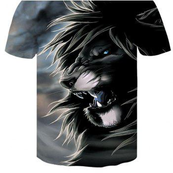 3D Gray Lion Print Men's Casual Short Sleeve Graphic T-shirt - GRAY 4XL