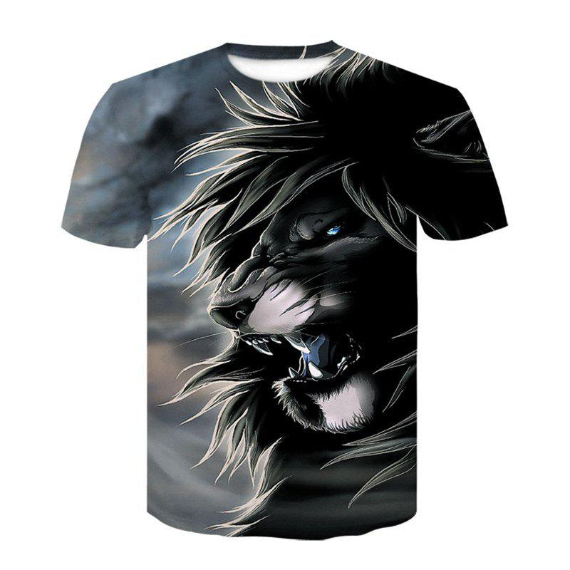 3D Gray Lion Print Men's Casual Short Sleeve Graphic T-shirt - GRAY L