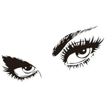 Big Eyes  Decal Long Eyelashes Design Wall Decor Sticker - BLACK