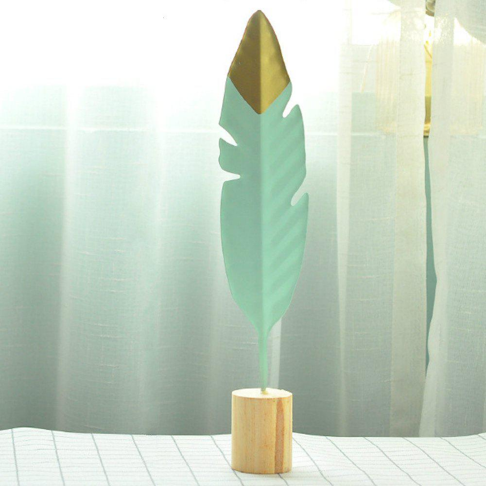 Minimalist Creative Iron Feather Sculpture Living Room Bedroom Decoration - PALE BLUE LILY 36X6X5.5CM