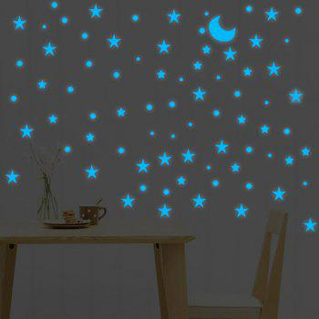 Blue Luminous Stars Moon Wall Stickers Home Decor - GREEN YELLOW