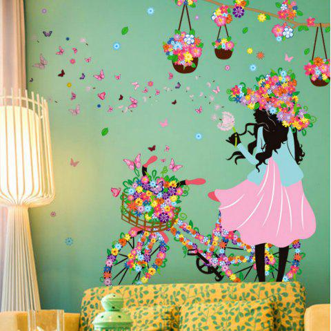 Fairy Girl Wall Stickers Flower Elf  Mural Art for Kids Room  Decoration - multicolor