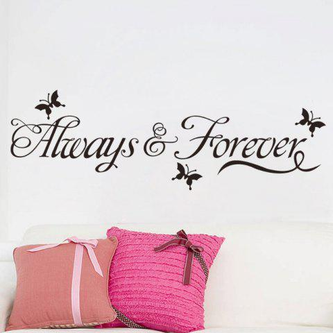 Forever English Engraving Wall Explosion Room Wallpaper Creative Background - BLACK