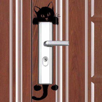Creative Room Switch Sticker Decoration Black Cartoon Cute Cat Waterproof 3pcs - BLACK