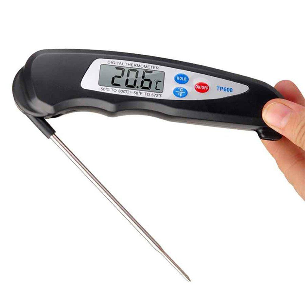 Foldable Digital Food Thermometer Tester for BBQ - BLACK
