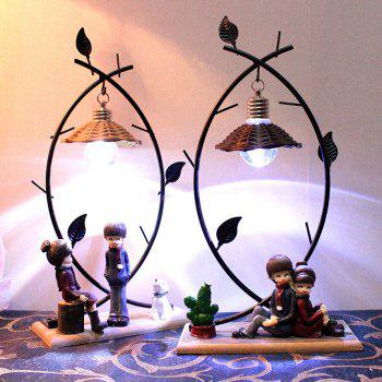 Creative Couple Night Light Wrought Iron Resin Craft Ornaments - BLACK