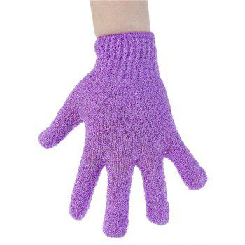 1 Pair Shower Bath Gloves Exfoliating Wash Skin Spa Massage Scrub - PURPLE MIMOSA