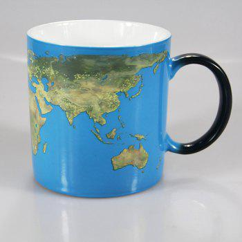 300ML World Map Change Color Cup Discolored In Case of Hot Water - BLACK