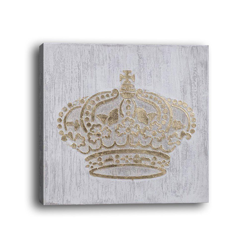 Framed Canvas Bedroom Wall Still Life Crown Decoration Print - multicolor 12 X 12 INCH (30CM X 30CM)