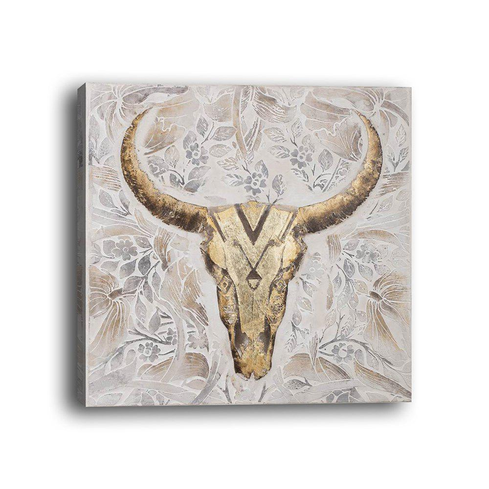 Framed Canvas Modern Room Abstract Still Life Sheep's Head Decoration Print - multicolor 19 X 19 INCH (50CM X 50CM)