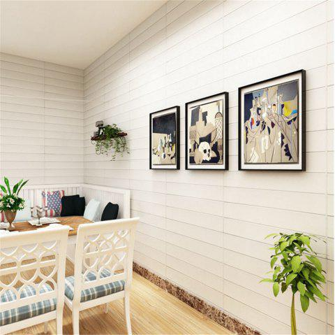 Self Adhesive 3D Waterproof Wood Grain Wall Stickers  Safty Home Decor - MILK WHITE