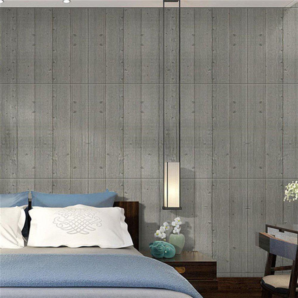Self Adhesive 3D Waterproof Wood Grain Wall Stickers  Safty Home Decor - LIGHT GRAY