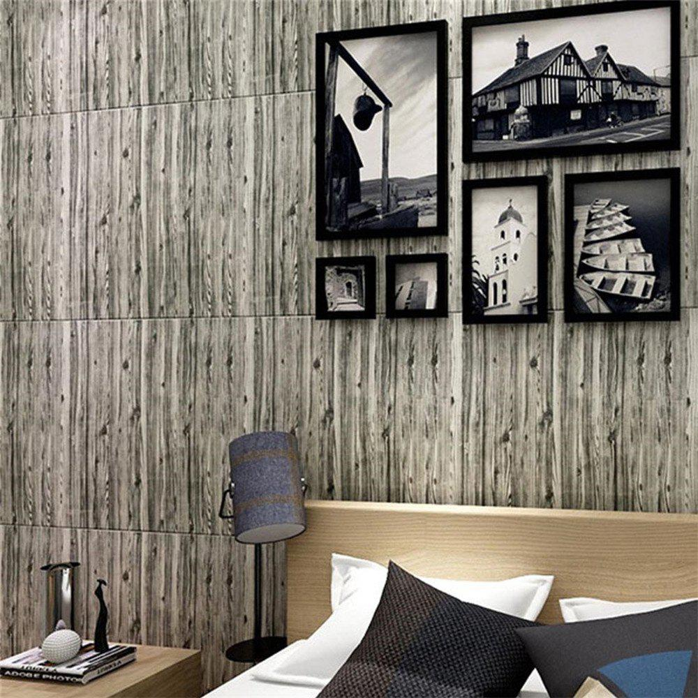 Self Adhesive 3D Waterproof Wood Grain Wall Stickers  Safty Home Decor - multicolor B
