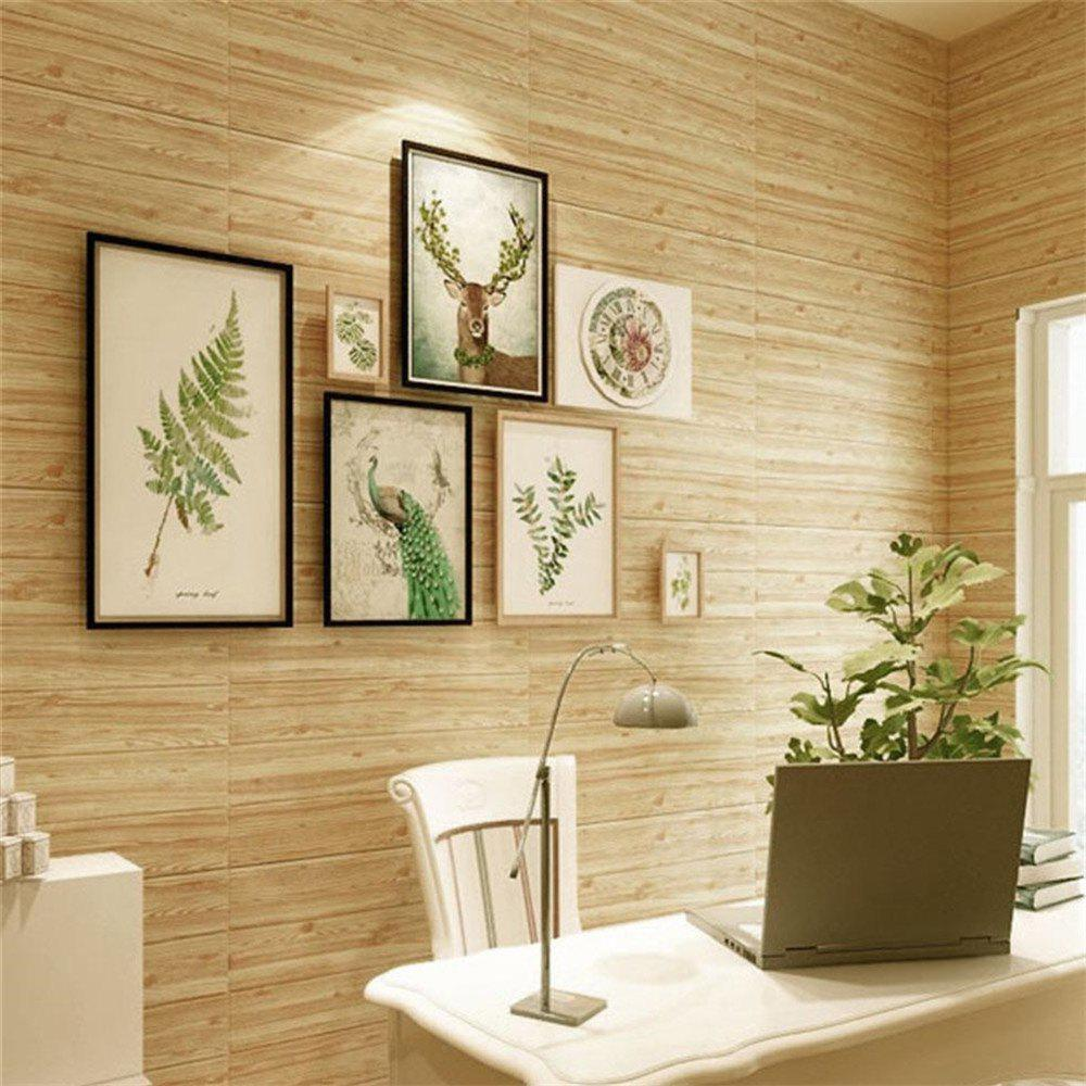 Self Adhesive 3D Waterproof Wood Grain Wall Stickers  Safty Home Decor - CAMEL BROWN