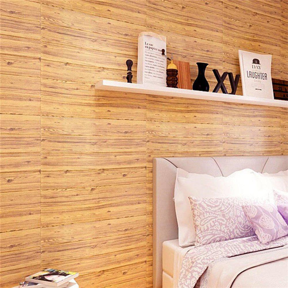 Self Adhesive 3D Waterproof Wood Grain Wall Stickers  Safty Home Decor - DARK GOLDENROD