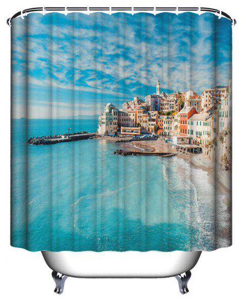 Seaside Urban Bathroom Waterproof Polyester Print Shower Curtain - DAY SKY BLUE W71 INCH * L71 INCH