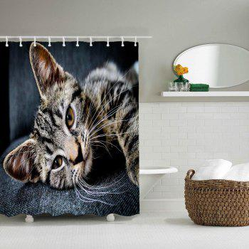 Silent Cat Bathroom Polyester Printed Shower Curtain - LIGHT GRAY W59 INCH * L71 INCH