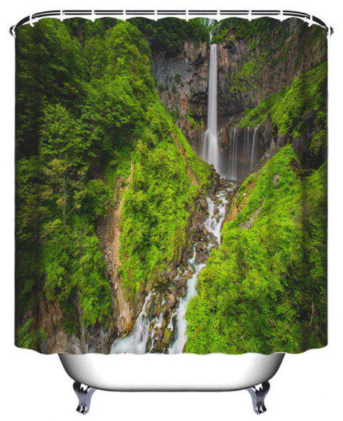 Alpine Waterfall Bathroom Polyester Printed Waterproof Shower Curtain - JUNGLE GREEN W59 INCH * L71 INCH
