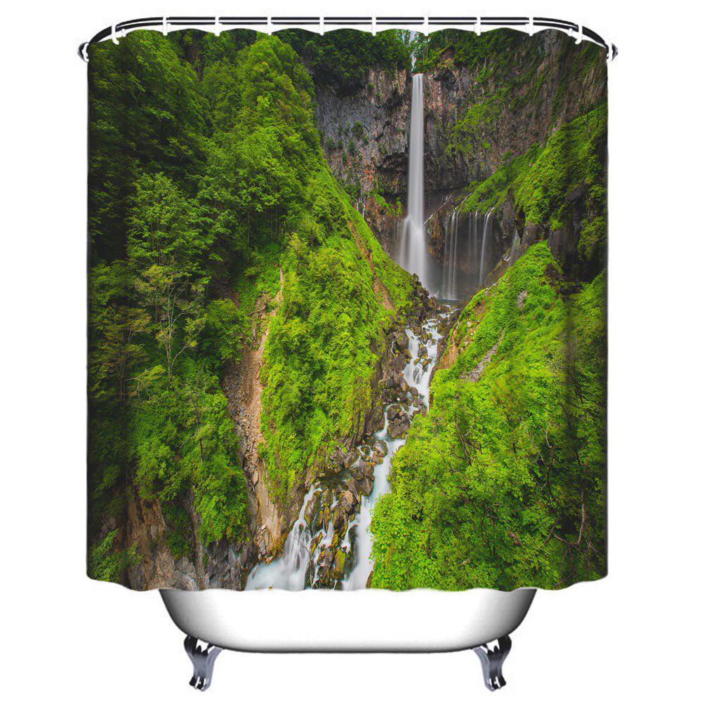 Alpine Waterfall Bathroom Polyester Printed Waterproof Shower Curtain - JUNGLE GREEN W71 INCH * L71 INCH