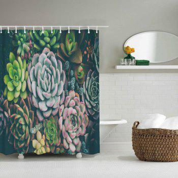 Succulent Plants Bathroom Polyester Printing Waterproof Shower Curtain - multicolor W71 INCH * L71 INCH