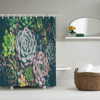 Succulent Plants Bathroom Polyester Printing Waterproof Shower Curtain - multicolor W59 INCH * L71 INCH