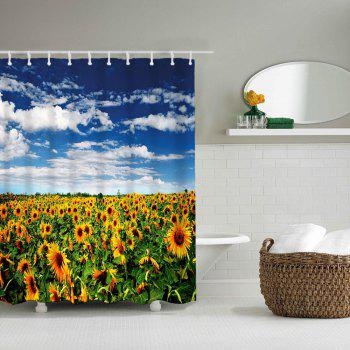 Sunflower Flower Sea Bathroom Polyester Printing Waterproof Shower Curtain - multicolor W71 INCH * L71 INCH