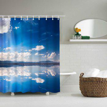 Sky Environment Bathroom Polyester Printed Waterproof Shower Curtain - SKY BLUE W71 INCH * L71 INCH